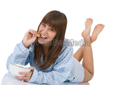 female, teenager, eat, healthy, , cereal - 2809741