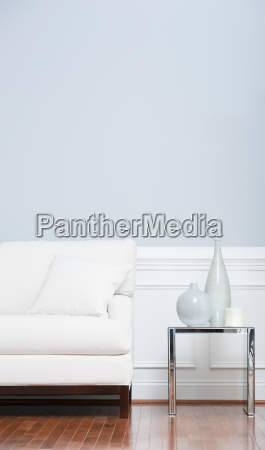 white, sofa, and, glass, end, table - 2812305