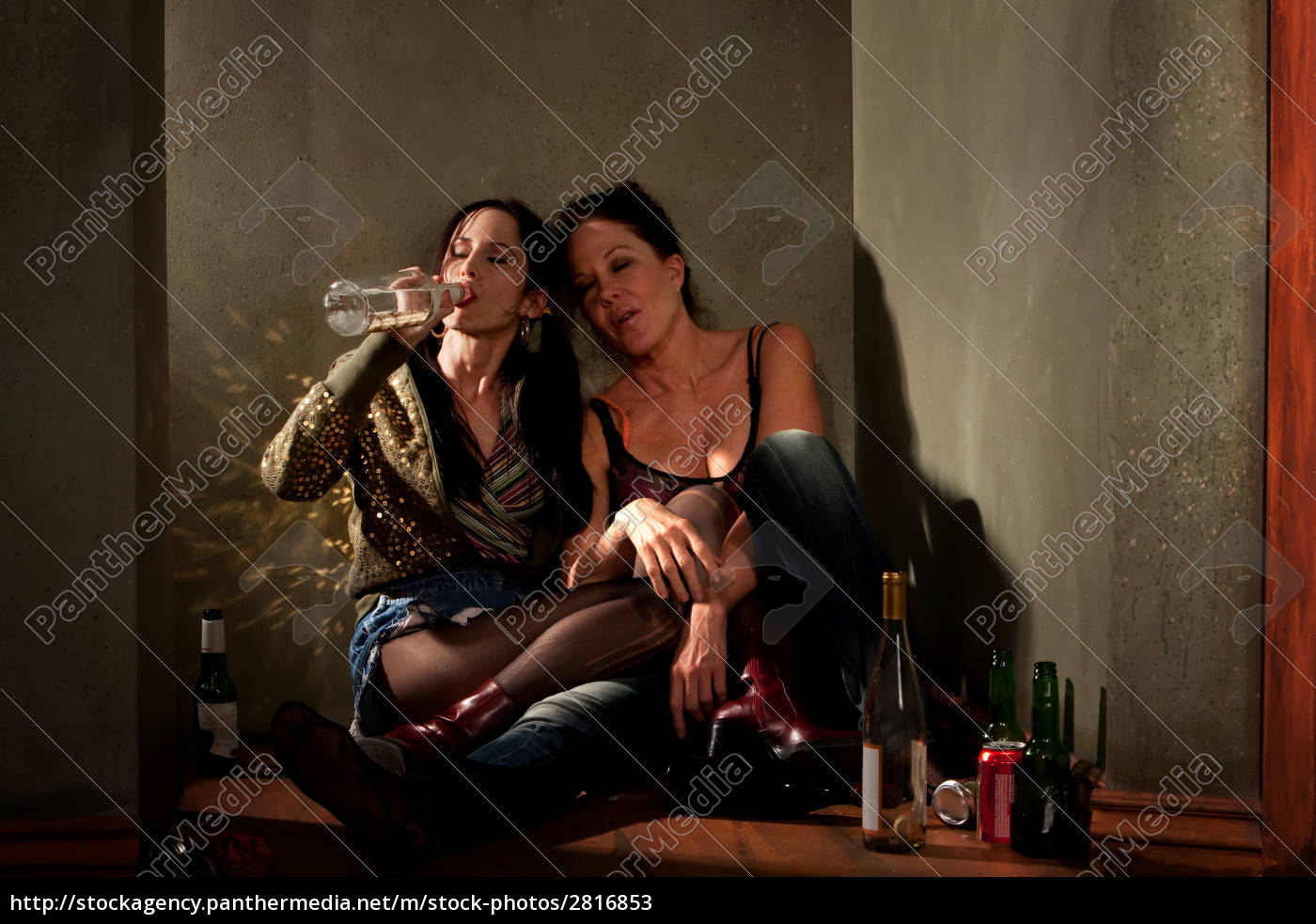 women, surrounded, by, booze, bottles, in - 2816853