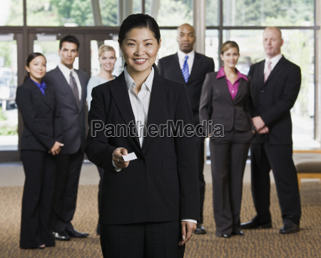 businesswoman, offering, business, card - 2822527
