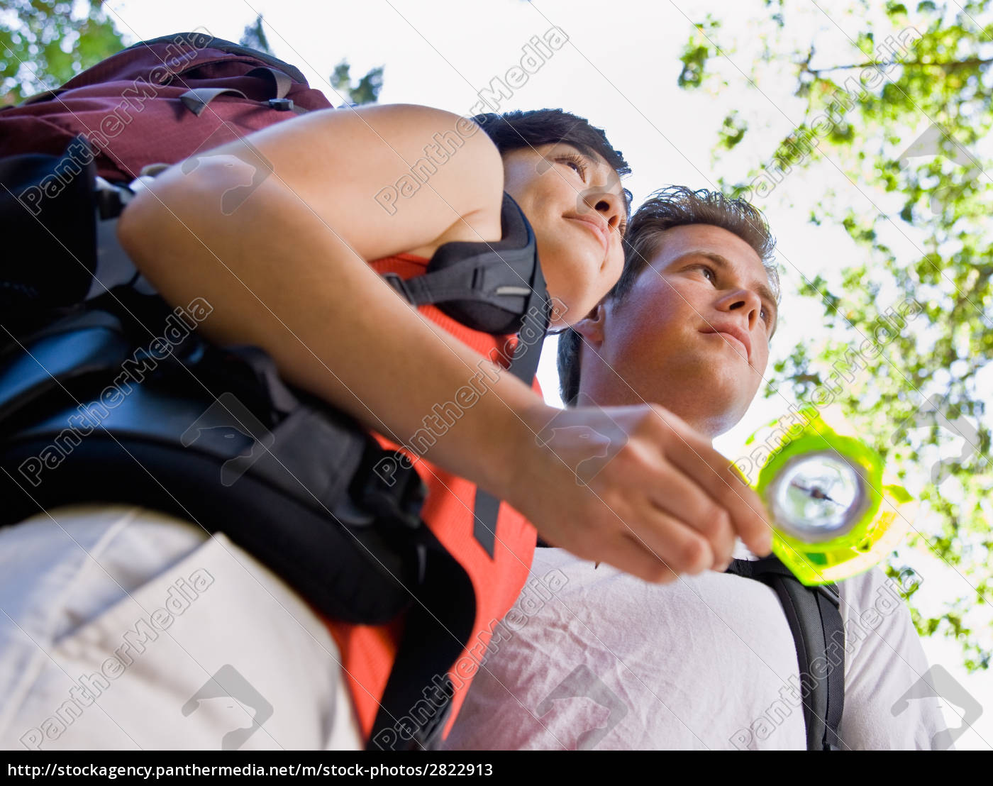 couple, with, backpacks, looking, at, compass - 2822913