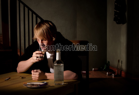 depressed, young, man, with, bottle, of - 2822005