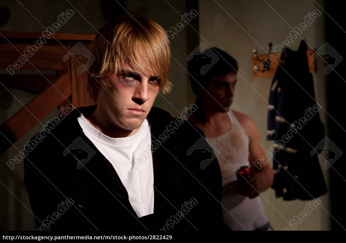frightened, young, man, with, menacing, alcoholic - 2822429