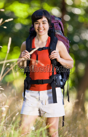smiling, woman, with, backpack - 2822893