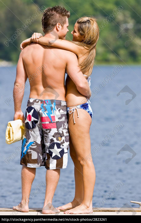 couple, hugging, on, pier - 2823261