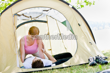 couple, laying, in, tent - 2823015