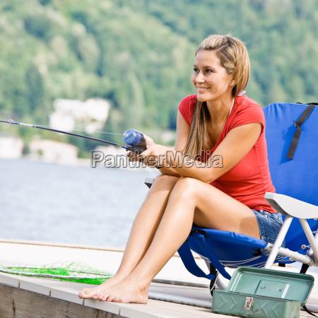 woman, fishing, on, pier - 2823197