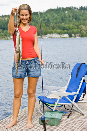 woman, fishing, on, pier - 2823213
