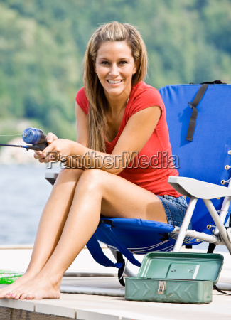 woman, fishing, on, pier - 2823319