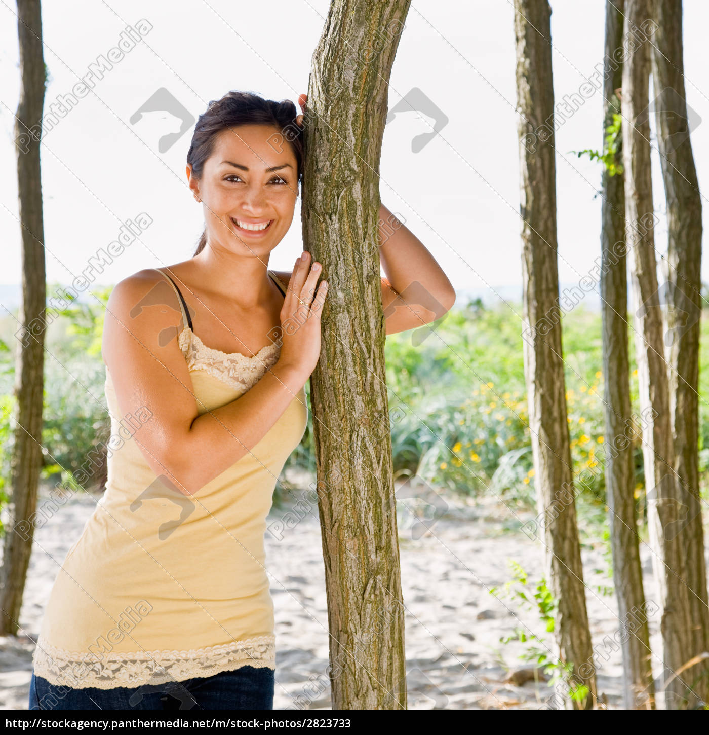 woman, leaning, on, tree, at, beach - 2823733