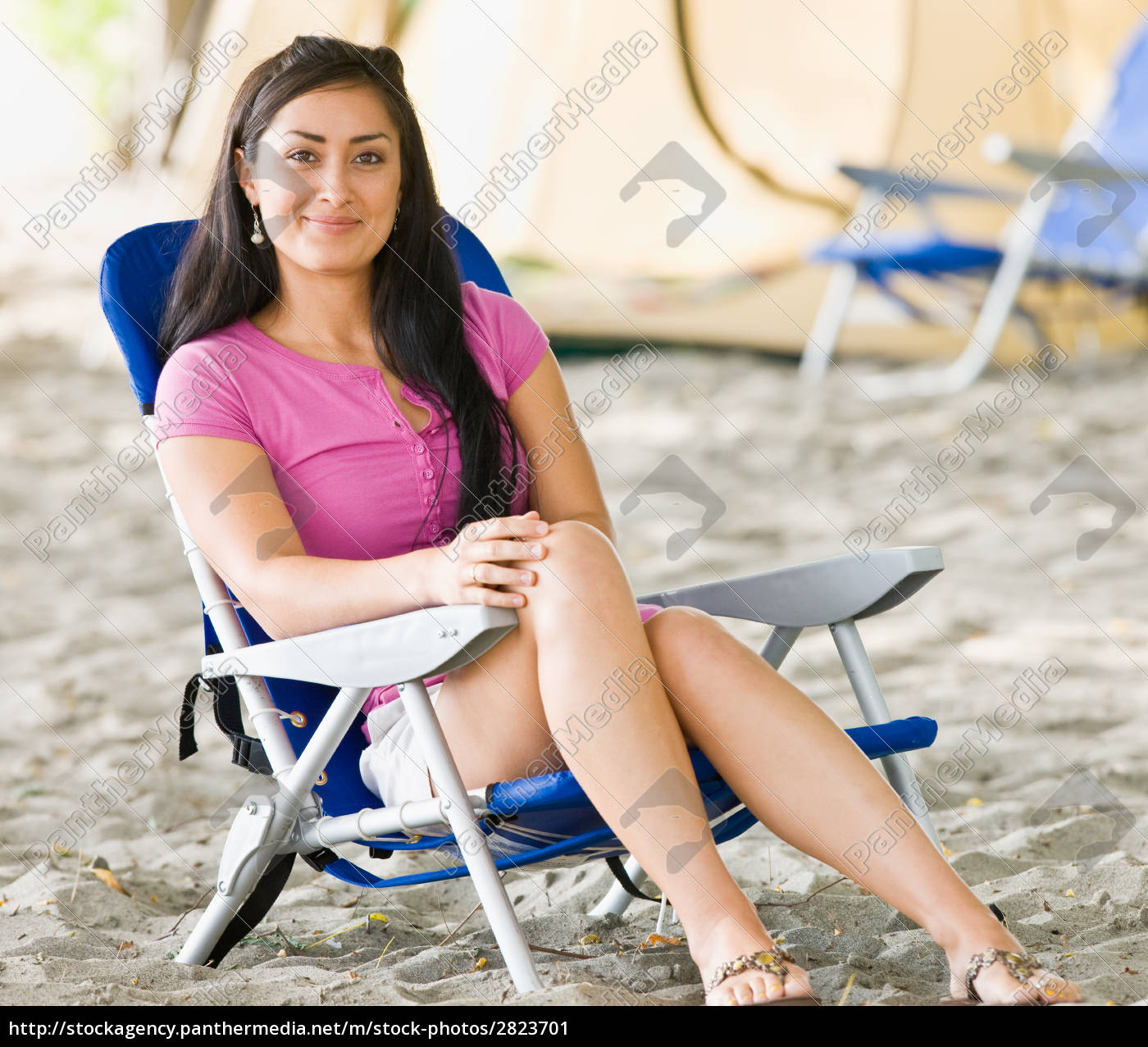 woman, sitting, in, chair, at, campsite - 2823701