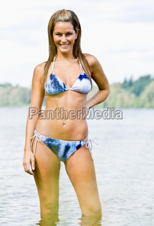 woman, wading, in, lake, water - 2823445