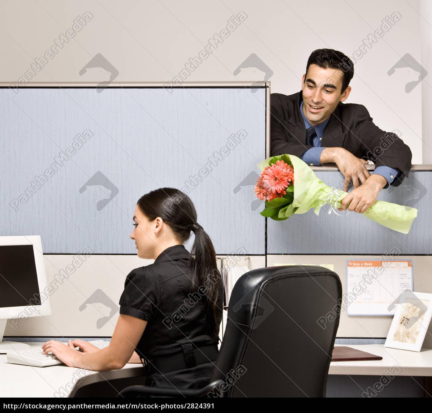 businessman, bringing, co-worker, flowers - 2824391