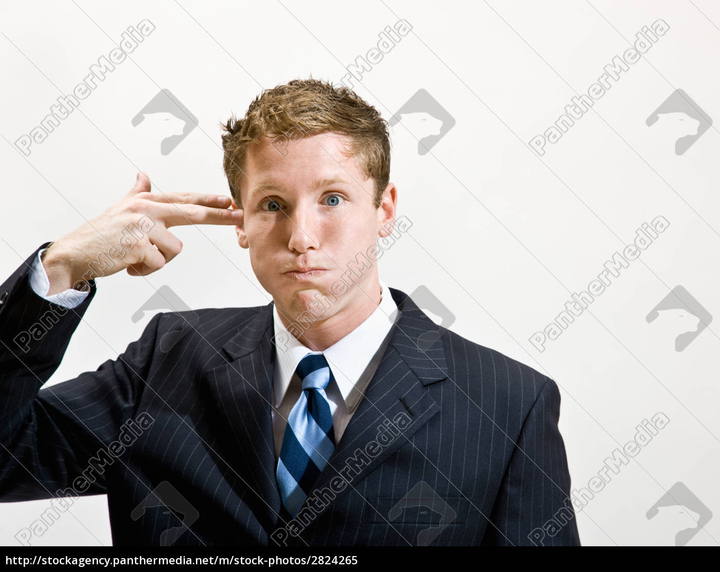 businessman, pretending, to, shoot, self, in - 2824265