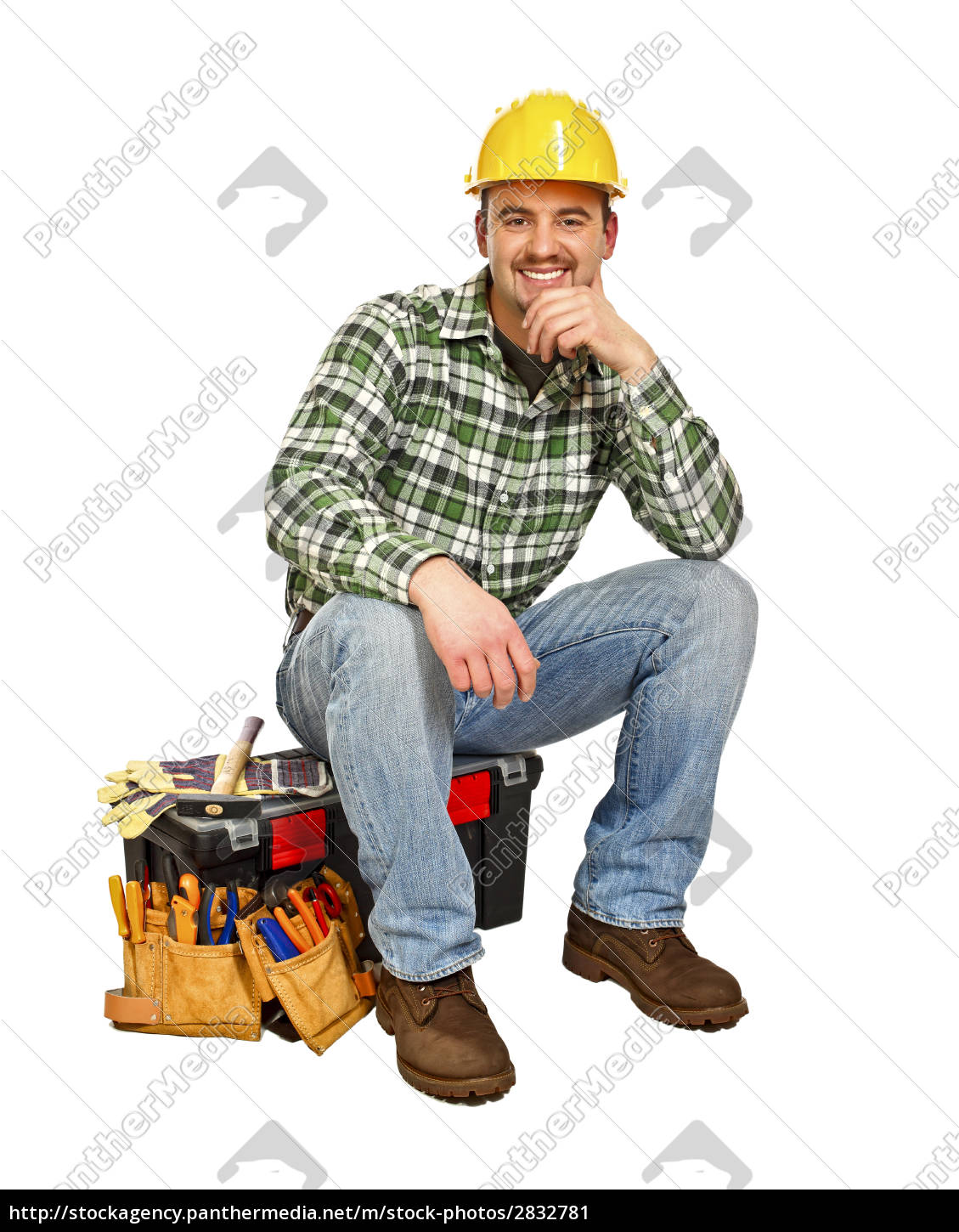 young, handyman, sit, on, toolbox - 2832781