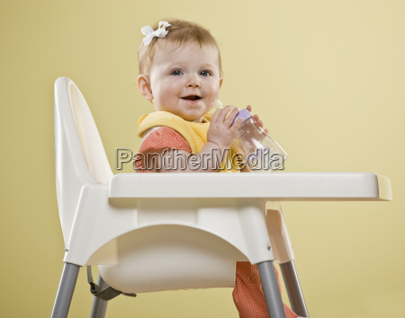 baby, girl, in, high, chair - 2833849