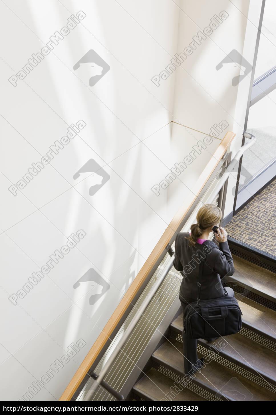 businesswoman, walking, up, stairs - 2833429