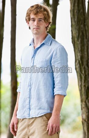 serious man outdoors