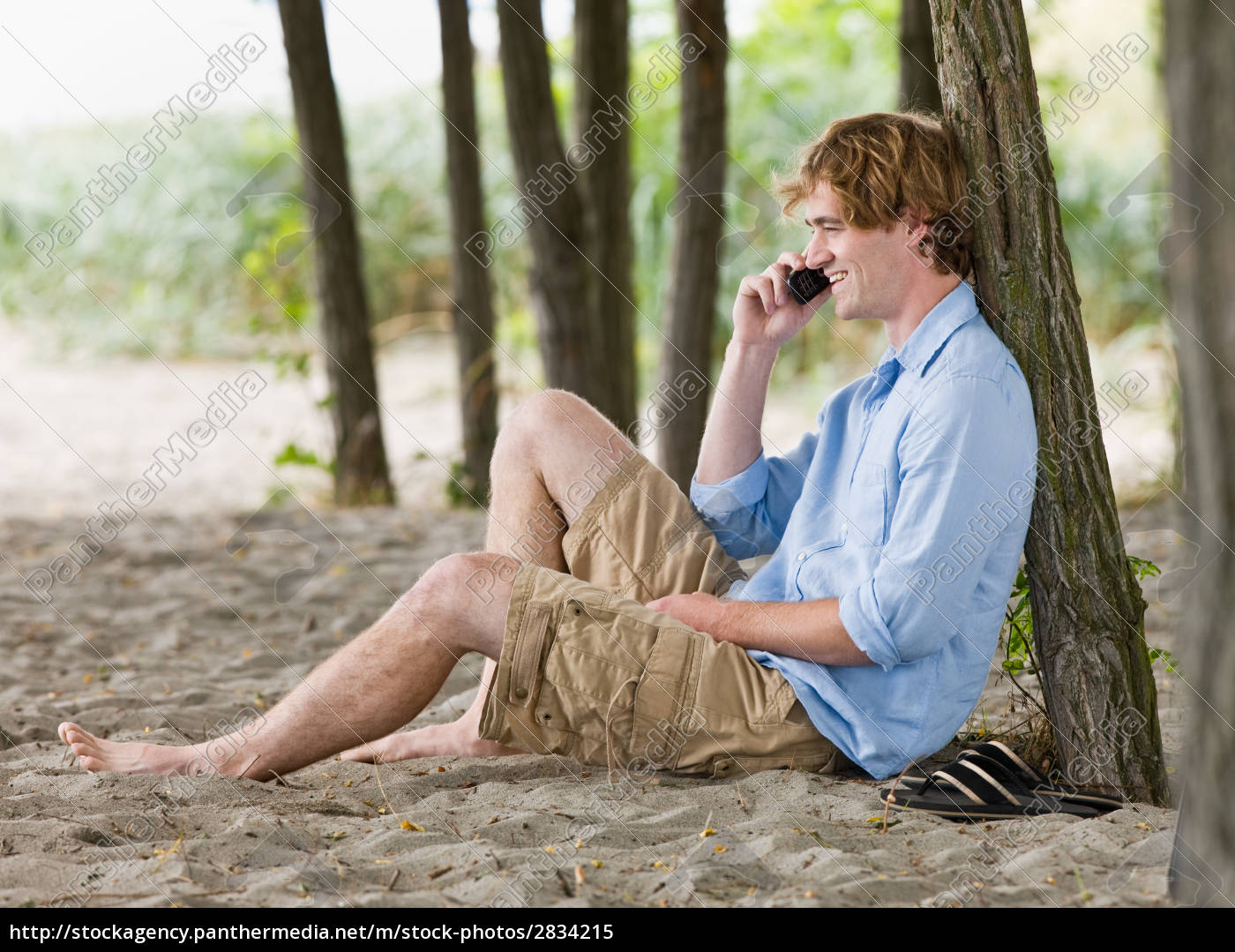 man, talking, on, cell, phone, outdoors - 2834215