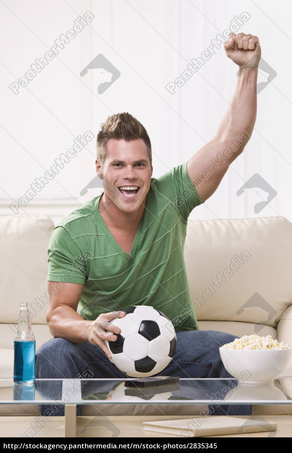 soccer, fan, pumping, his, fist, while - 2835345