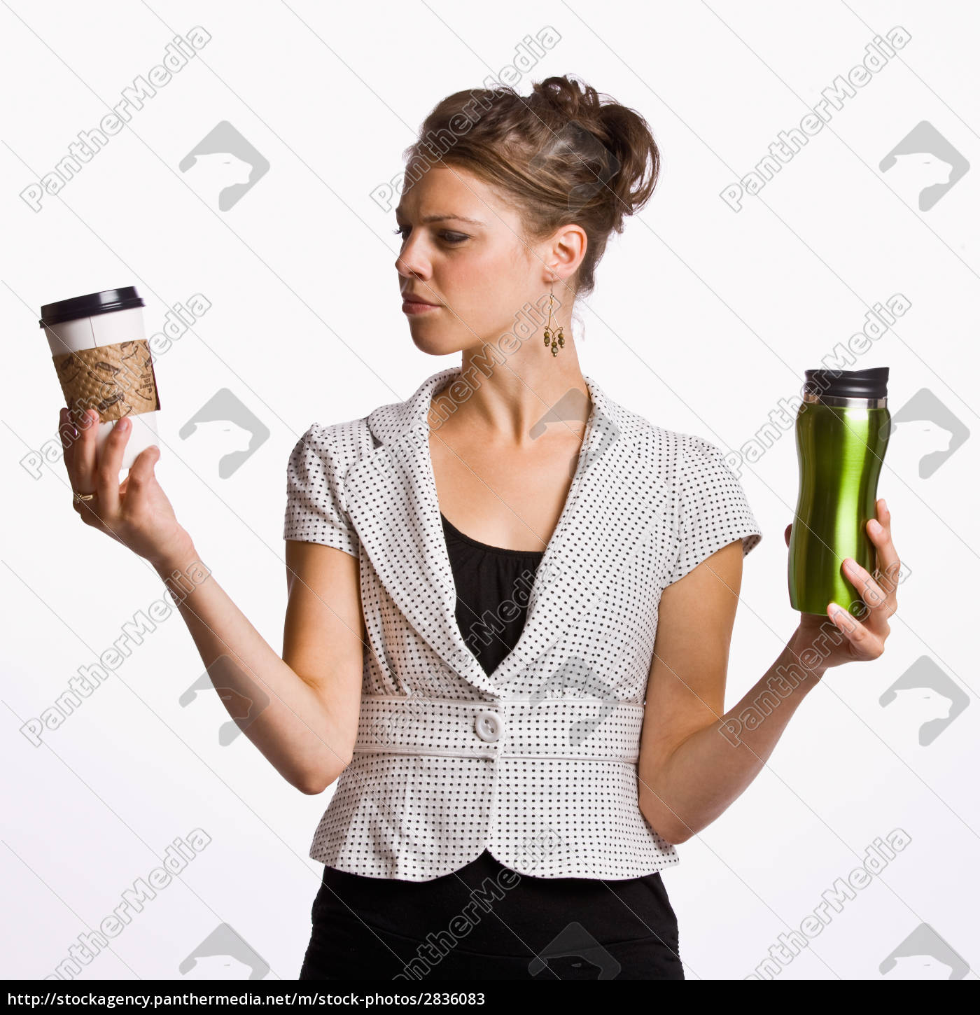 businesswoman, holding, coffee, cups - 2836083
