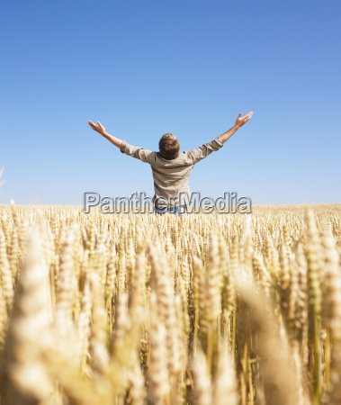 man in wheat field with arms