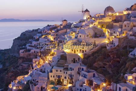 , oia, at, dusk, , island, santorini, - 2837201