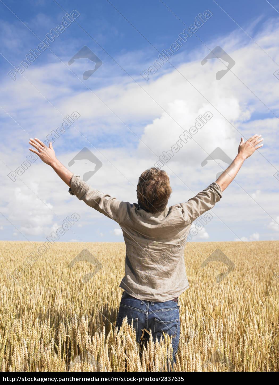 man, in, wheat, field - 2837635