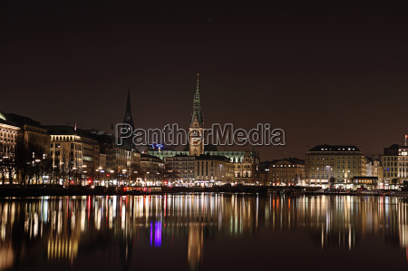 alster, with, city, hall, hamburg, at - 2842771