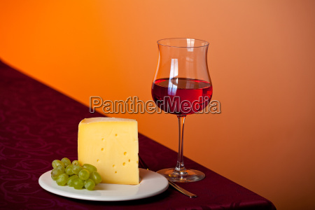 piece, of, cheese, a, grape, and, red - 2865609