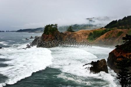 fog, usa, rock, coast, pacific, salt water - 2881379