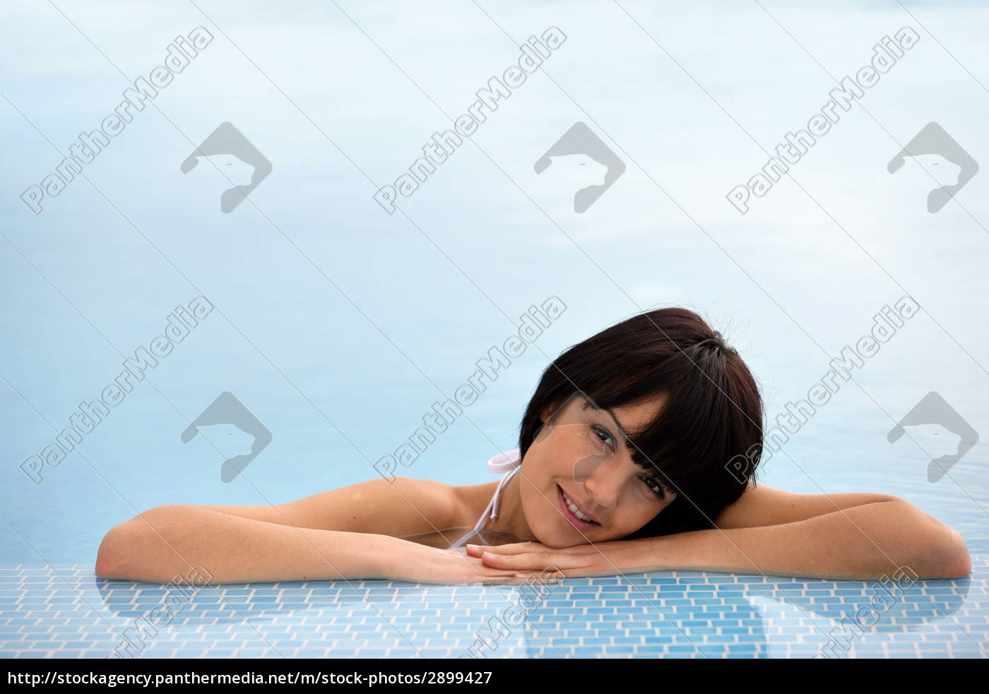 portrait, of, smiling, woman, bathing, at - 2899427