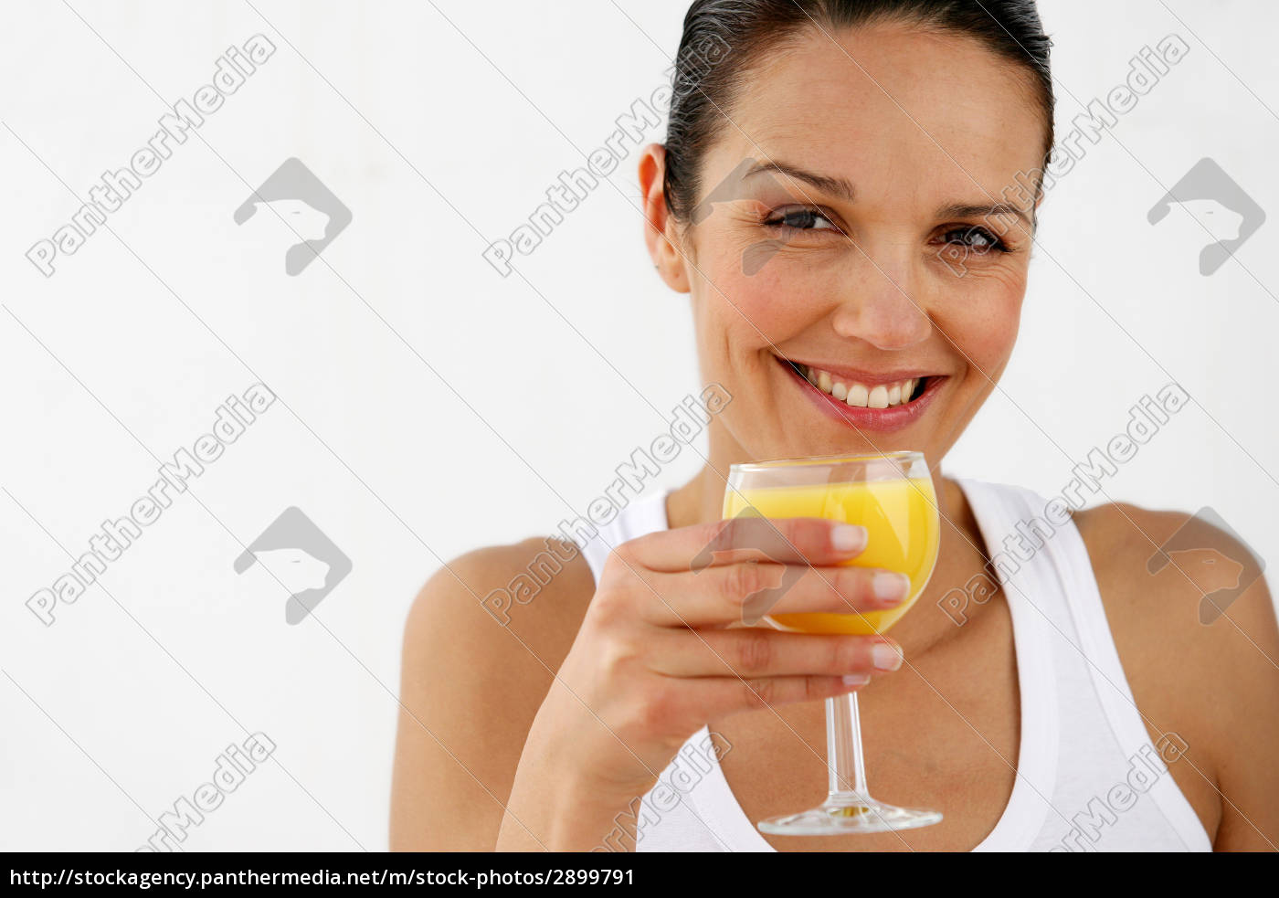 portrait, of, smiling, woman, with, orange - 2899791