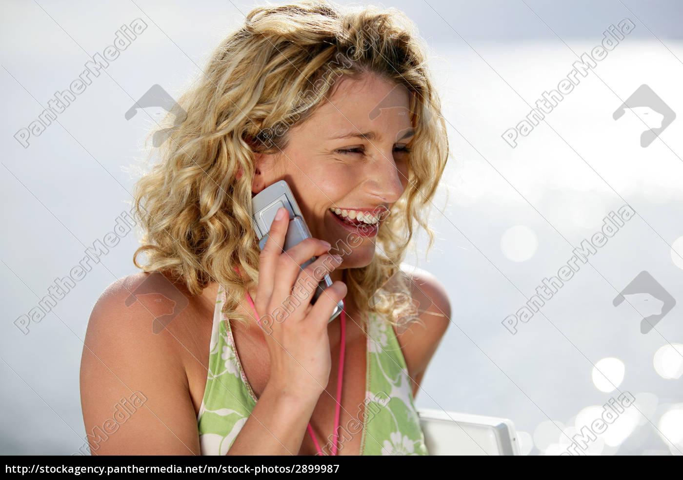 woman, telephone, phone, profile, laugh, laughs - 2899987