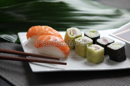 sushi, on, a, plate, with, chopsticks - 2903249