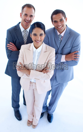 high angle of smiling business people
