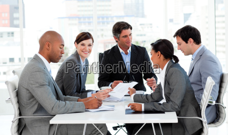 multi ethnic business people disscussing a