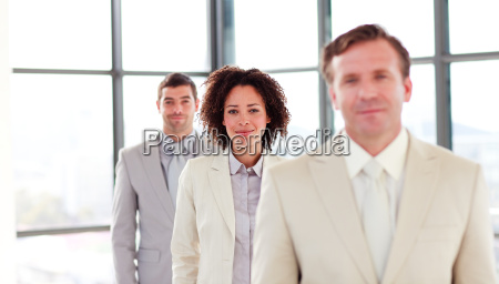 friendly attractive businesswoman in a line