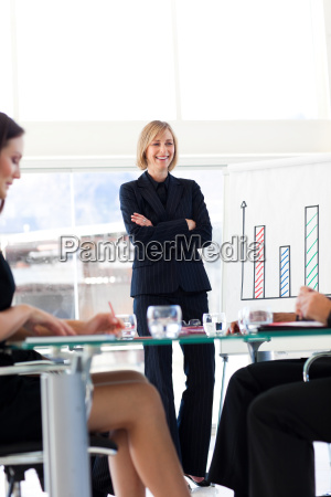 businesswoman smiling at her team in