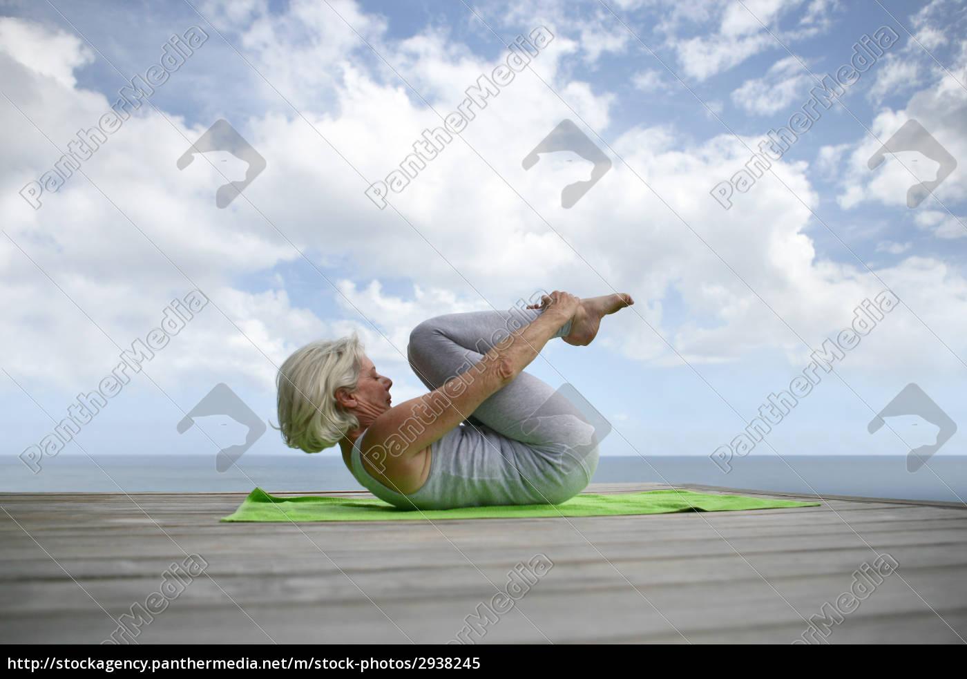 elderly, woman, doing, gymnastics, on, a - 2938245
