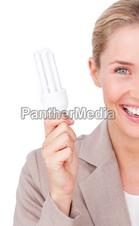 close up of a businesswoman holding