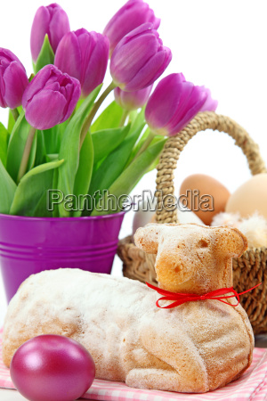 easter, lamb, cake, and, purple, tulips - 2972265