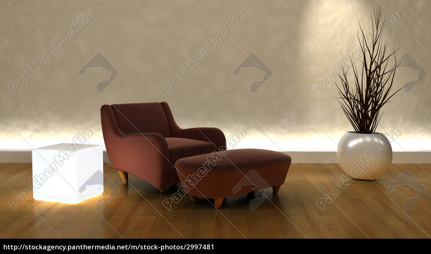 contemporary, arm, chair, and, ottoman, in - 2997481
