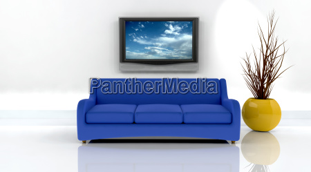 3d, render, of, sofa, and, tv - 3001531