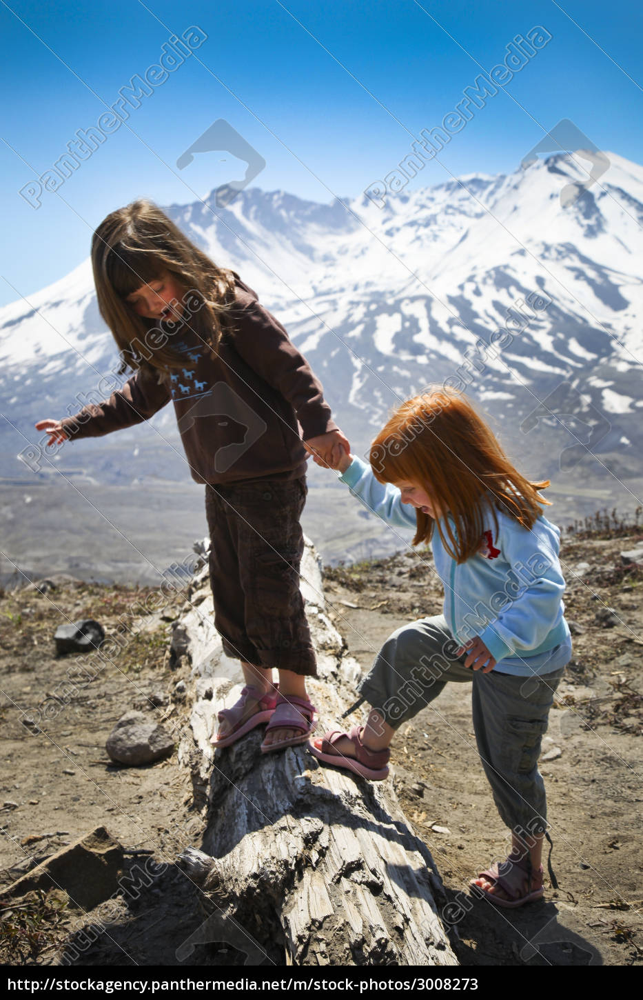 little, girls, playing, on, log, in - 3008273