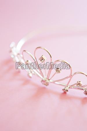 wedding, tiara, on, bridal, pink, background - 3013559
