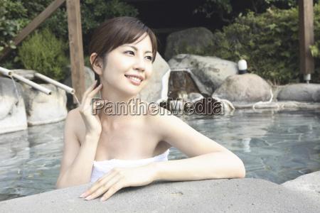 japanese, woman, soaking, the, open-air, bath - 3014911