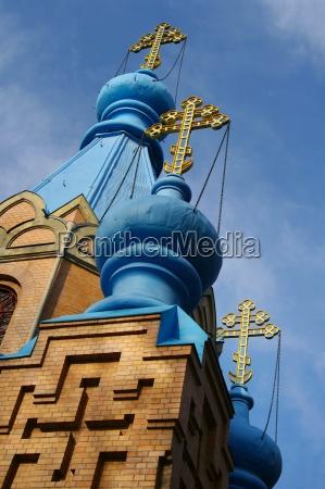 steeple in onion shape with cross