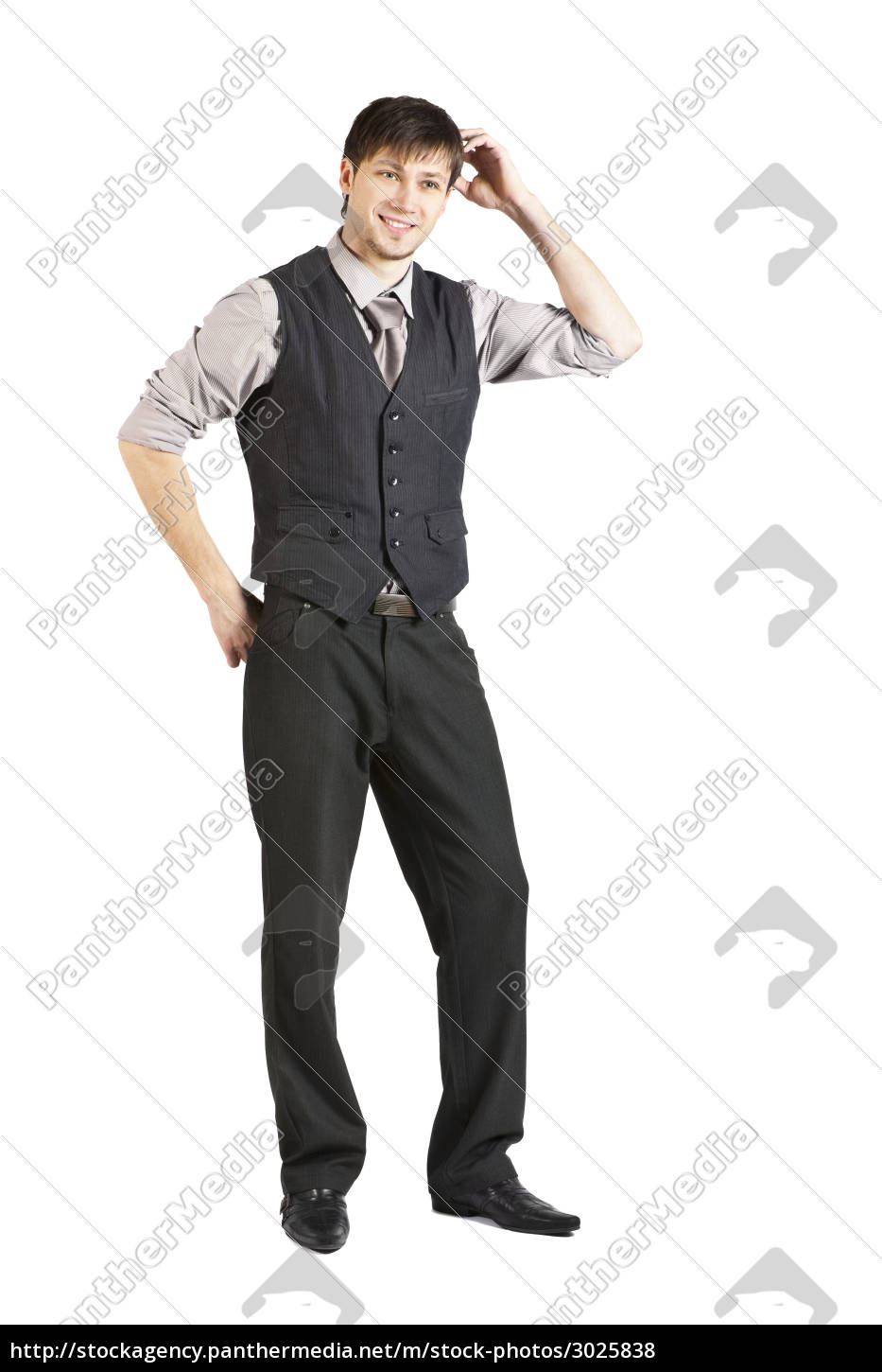 young, businessman, talking, on, phone., isolated - 3025838