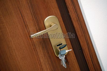 door handle with keys